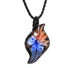 Women Handmade Flower Lampwork Murano Glass Circle Pendant Necklace Fashion Blue & Orange