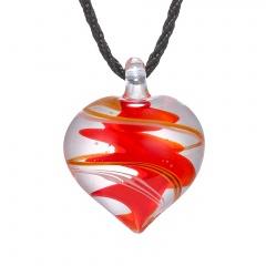 Fashion Women Heart Handmade Flower Lampwork Murano Glass Circle Pendant Necklace Red