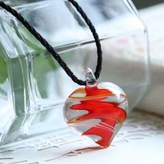 Trendy Heart Lampwork Murano Glass Heart Flower Necklace Pendant Jewelry Hot Red