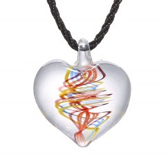Trendy Heart Lampwork Murano Glass Heart Flower Necklace Pendant Jewelry Hot Colorful