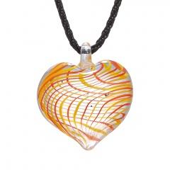 Trendy Heart Lampwork Murano Glass Heart Flower Necklace Pendant Jewelry Hot Yellow