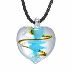 Trendy Heart Lampwork Murano Glass Heart Flower Necklace Pendant Jewelry Hot Sky Blue