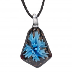 Chic Lampwork Murano Glass Iregular Flower Necklace Pendant Jewelry Hot  Gift Blue