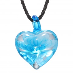Heart Lampwork Murano Glass Flower Necklace Pendant Fashion Jewelry Hot Sky Blue