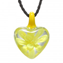 Heart Lampwork Murano Glass Flower Necklace Pendant Fashion Jewelry Hot Yellow