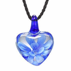 Heart Lampwork Murano Glass Flower Necklace Pendant Fashion Jewelry Hot Blue