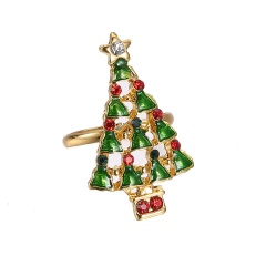 Fashion Gold Festival Christmas Rings Small Adjustable Cute Rings Alloy Jewelry Christmas Tree
