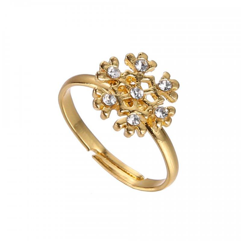 Tree Snowman Deer Gold Ring Girl Boy Xmas Rhinestone Jewelry