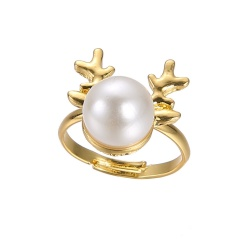 Fashion Gold Festival Christmas Rings Small Adjustable Cute Rings Alloy Jewelry Peal Elk