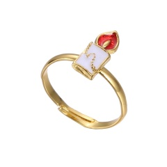 Fashion Gold Festival Christmas Rings Small Adjustable Cute Rings Alloy Jewelry Candle