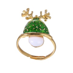 Fashion Gold Festival Christmas Rings Small Adjustable Cute Rings Alloy Jewelry Green Tree