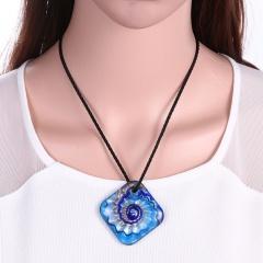 New Women Square Lampwork Murano Glass Pendant Necklace Chain Charm Jewelry Gift Blue