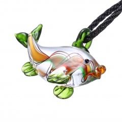 Fashion Murano Glass Fish Pendant Necklace Women Jewelry Holiday Gift Green
