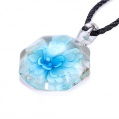 Fashion Murano Glass Geometric Flower Pendant Necklace Women Jewelry Gift Sky Blue