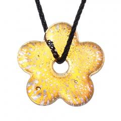 Fashion Murano Glass Hollow Flower Pendant Necklace Women Jewelry Gift Yellow