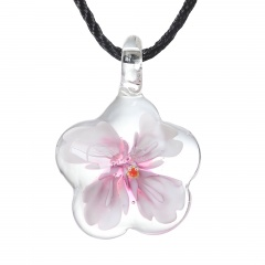 Fashion Murano Glass Flower Pendant Necklace Women Jewelry Gift Pink