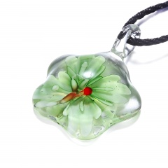 Fashion Murano Glass Flower Pendant Necklace Women Jewelry Gift Green