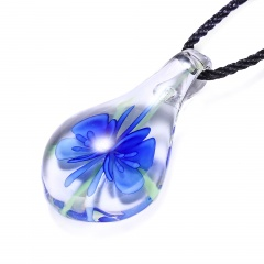 Charm Murano Lampwork Glass Waterdrop Flower Pendant Necklace Jewelry Gift Dark Blue