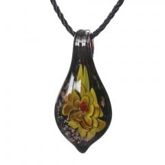 Women Murano Lampwork Glass Waterdrop Flower Inside Pendant Necklace Gift Yellow