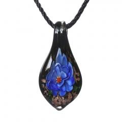 Women Murano Lampwork Glass Waterdrop Flower Inside Pendant Necklace Gift Dark Blue