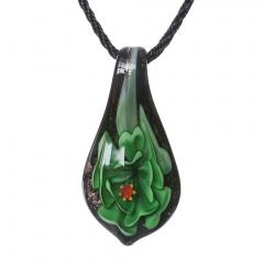 Women Murano Lampwork Glass Waterdrop Flower Inside Pendant Necklace Gift Green