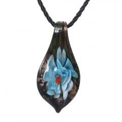 Women Murano Lampwork Glass Waterdrop Flower Inside Pendant Necklace Gift Blue