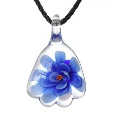 Gold Foil Drop Flower Lampwork Glass Murano Pendant Necklace Women Jewelry Gift Blue