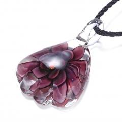 Gold Foil Drop Flower Lampwork Glass Murano Pendant Necklace Women Jewelry Gift Purple