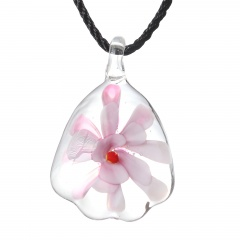 Gold Foil Drop Flower Lampwork Glass Murano Pendant Necklace Women Jewelry Gift Pink