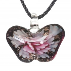 Women Butterfly Foil Drop Flower Lampwork Glass Murano Pendant Necklace Women Jewelry Gift Pink