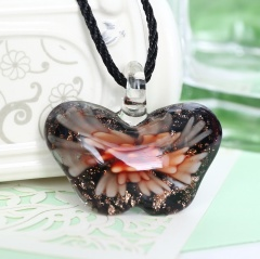 Women Butterfly Foil Drop Flower Lampwork Glass Murano Pendant Necklace Women Jewelry Gift Orange