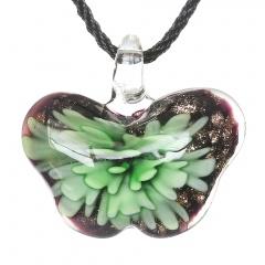 Women Butterfly Foil Drop Flower Lampwork Glass Murano Pendant Necklace Women Jewelry Gift Green