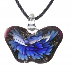 Women Butterfly Foil Drop Flower Lampwork Glass Murano Pendant Necklace Women Jewelry Gift Blue