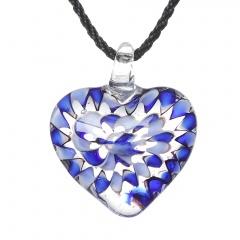 Charm Murano Lampwork Glass Round Flower Heart Pattern Pendant Necklace Jewelry Blue