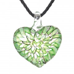 Charm Murano Lampwork Glass Round Flower Heart Pattern Pendant Necklace Jewelry Green