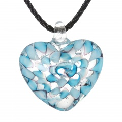 Charm Murano Lampwork Glass Round Flower Heart Pattern Pendant Necklace Jewelry Light Blue