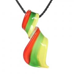 Fashion Stripe Drop Flower Lampwork Glass Murano Pendant Necklace Women Party Gift Orange Green Yellow