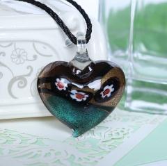 Women Fashion Lampwork Murano Glass Heart Flower Necklace Pendant Jewelry Gift Blue