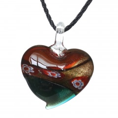 Women Fashion Lampwork Murano Glass Heart Flower Necklace Pendant Jewelry Gift Green& Red