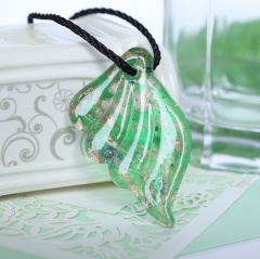 Fashion Angel Wings Lampwork Murano Glass Flower Necklace Pendant Jewelry Green