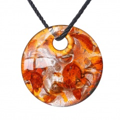 Fashion Lampwork Murano Glass Circle Square Rectangle Geometric Necklace Pendant Starfish Jewelry Hot Circle Orange