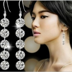 Five-Link Zircon Drop Earrings Wedding Party Bride Women Gifts Silver