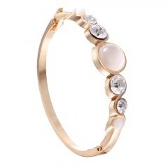 Gold Plated Cat Eyes Elegant Bangle Open Stone Bracelet Jewelry Gold