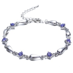 Fashion Silver Alloy with Crystal Bracelet Women's Jewelry Wholesale Purple