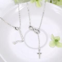 Silver Chain Choker Chunky Statement Bib Necklace Charm Pendant Women Jewelry Tassel Cross