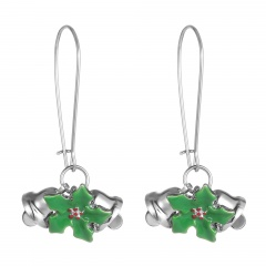 Festival Christmas Bells Earring Silver Plated Dangle Alloy Earring Jewelry Wholesale Bells