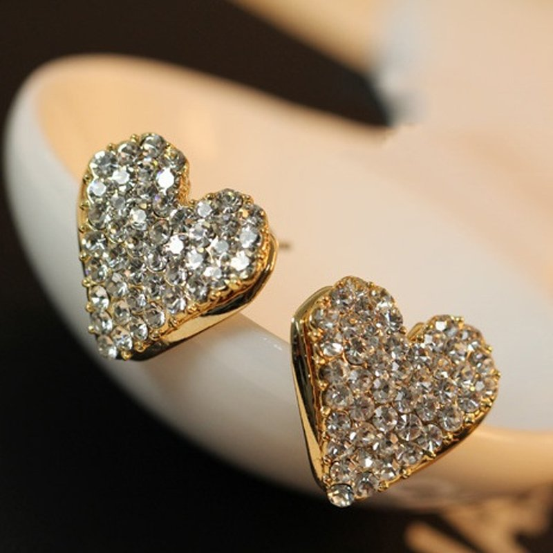 SOLD AS A PAIR GOLD HEART CRYSTAL UNDER LOBE EAR CUFF STUD EARRING CLASSY// PUNK
