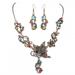 Fashion Bronze Plated Butterfly Bridal Suit Necklace Earring Jewelry Set Wholesale Mix color
