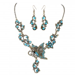 Fashion Bronze Plated Butterfly Bridal Suit Necklace Earring Jewelry Set Wholesale Blue