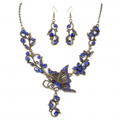 Fashion Bronze Plated Butterfly Bridal Suit Necklace Earring Jewelry Set Wholesale Navy Blue